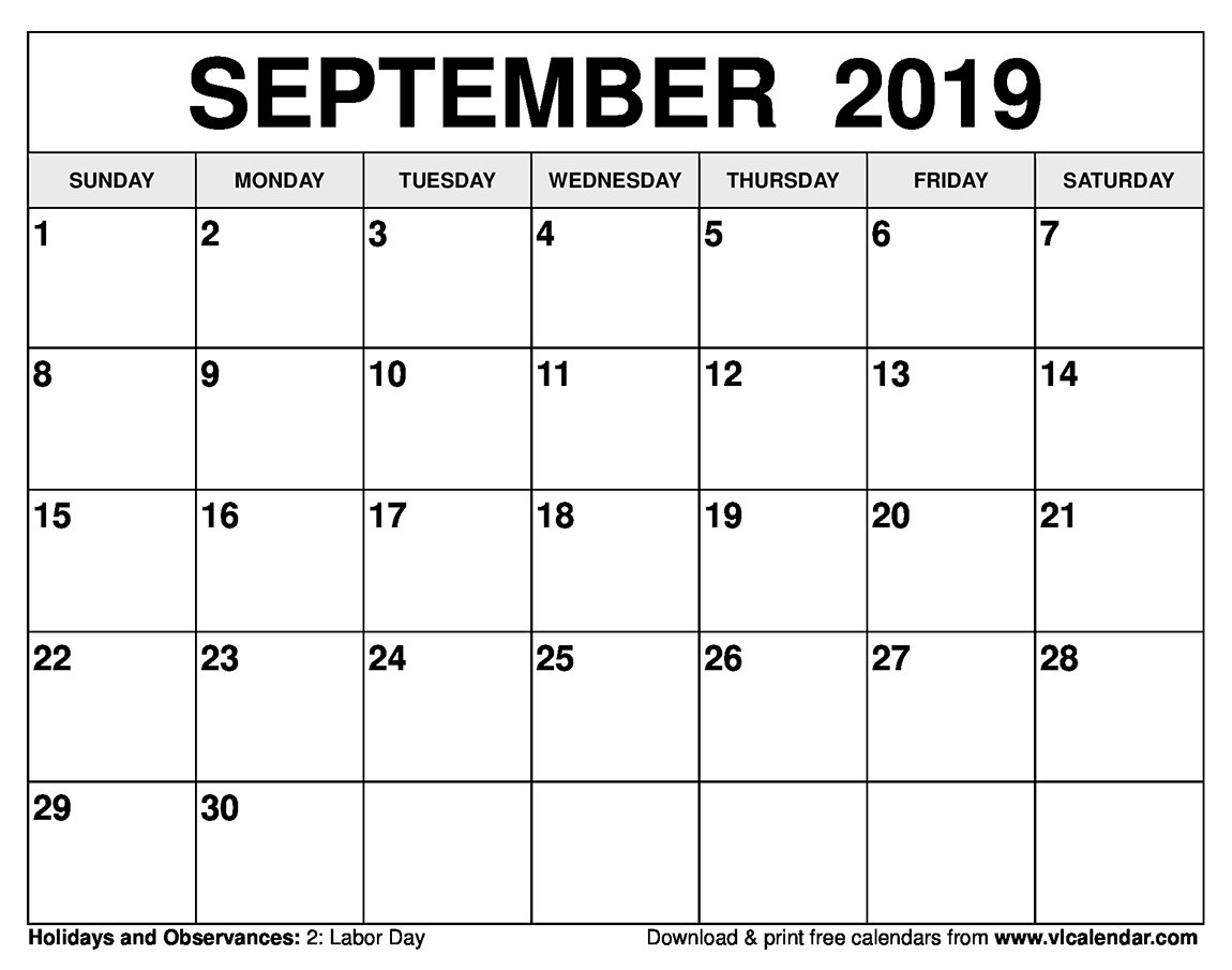 September 2019 Calendar Printable Templates On We Heart It Calendares To Print That Have The Week M Thru Sunday