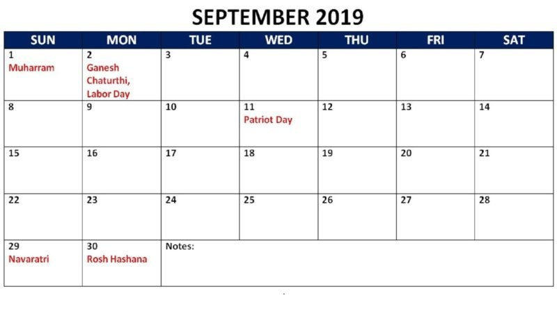 September 2019 Calendar With Holidays Public, National 445 Calender What Is This