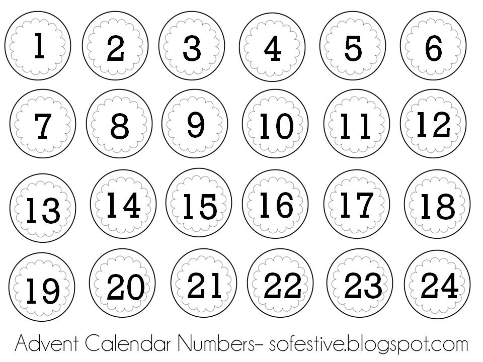 So Festive!: Advent Calendar Ideas Printable Calendar Numbers 1-31 May