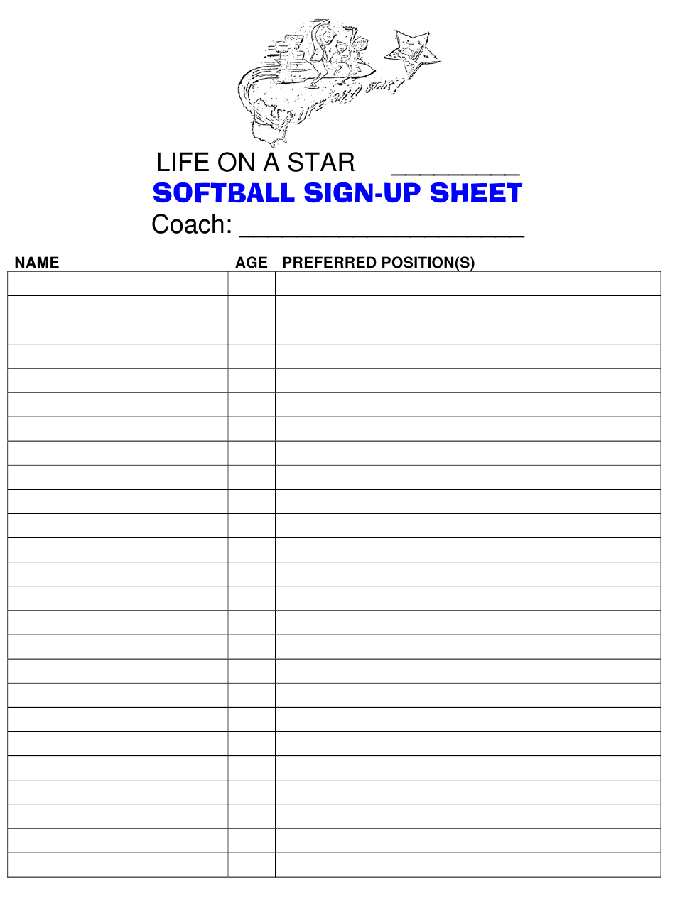 Softball Sign-Up Sheet - Life On A Star Download Printable On Callalendar Sign Up Template