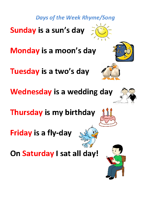 Song Worksheet: Days Of The Week Rhyme/ Song Calendares To Print That Have The Week M Thru Sunday