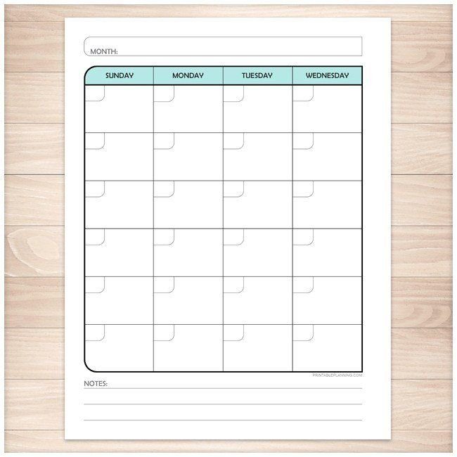 Teal Monthly Weekly Calendar Planner Pages - Printable Make Of Copy Of Blank Monthly Calendar 8 1/2 By 11