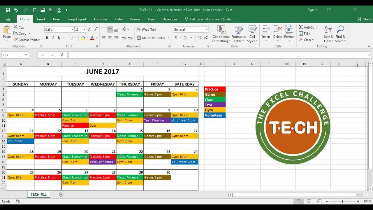 Tech-011 - Create A Calendar In Excel That Automatically Free Interactive Calendar Templates
