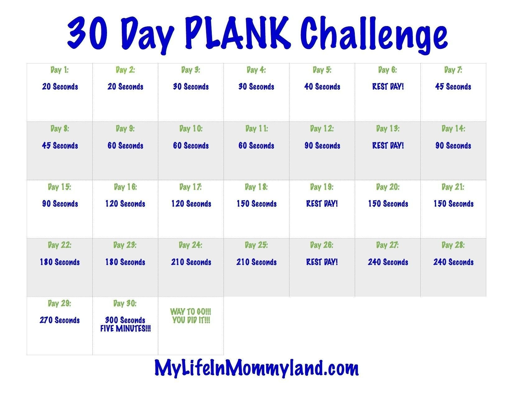 The 30 Day Plank Challenge Calendar   Get Your Calendar 30 Day Printable Calendar