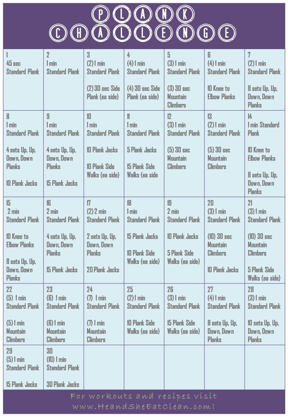The 30 Day Plank Challenge Calendar | Get Your Calendar Printable Plank Challenge Chart