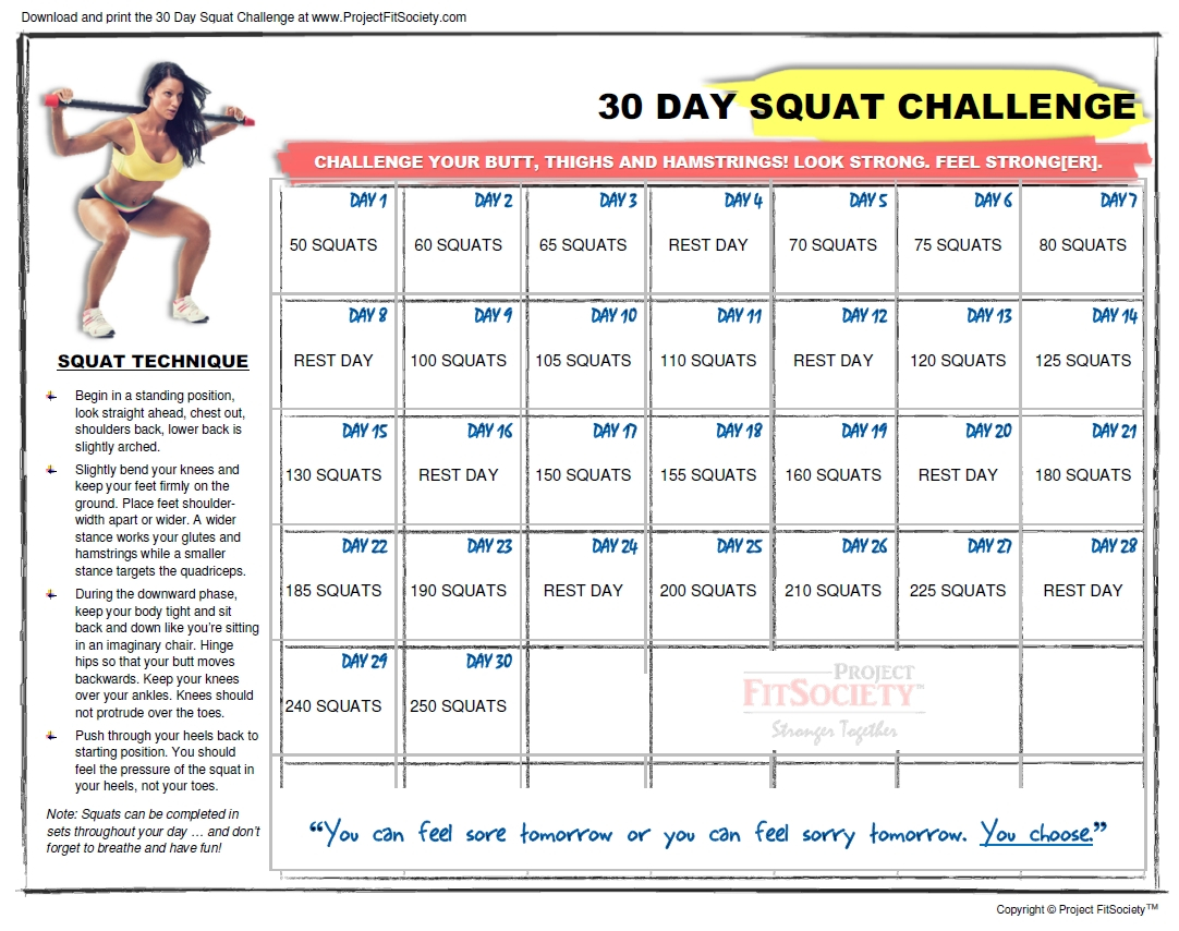 The 30 Day Squat Challenge Schedule Calendar | Get Your Printable 30-Day Plank Challenge