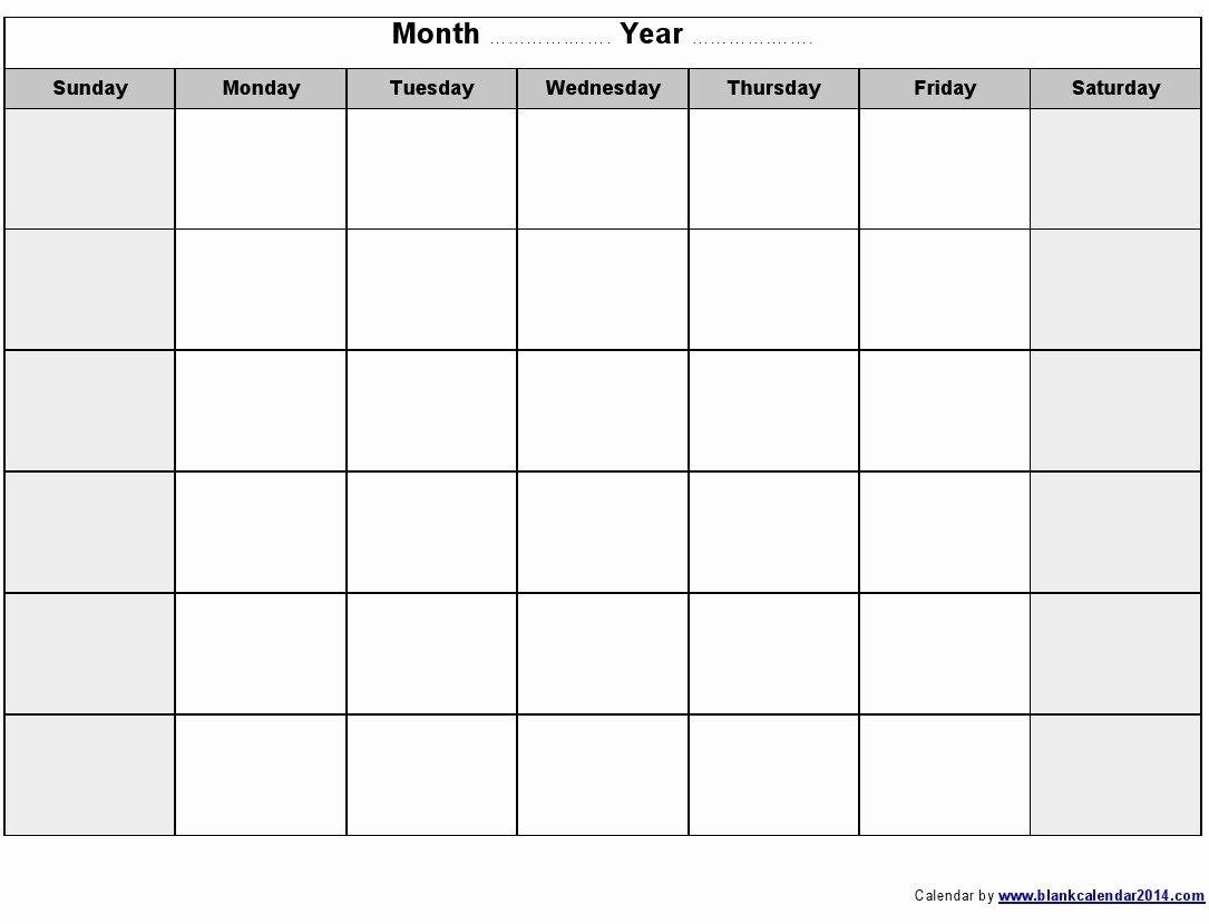 The Blank Sunday Through Saturday Calendar   Get Your Word Calendar Template Monday - Sunday