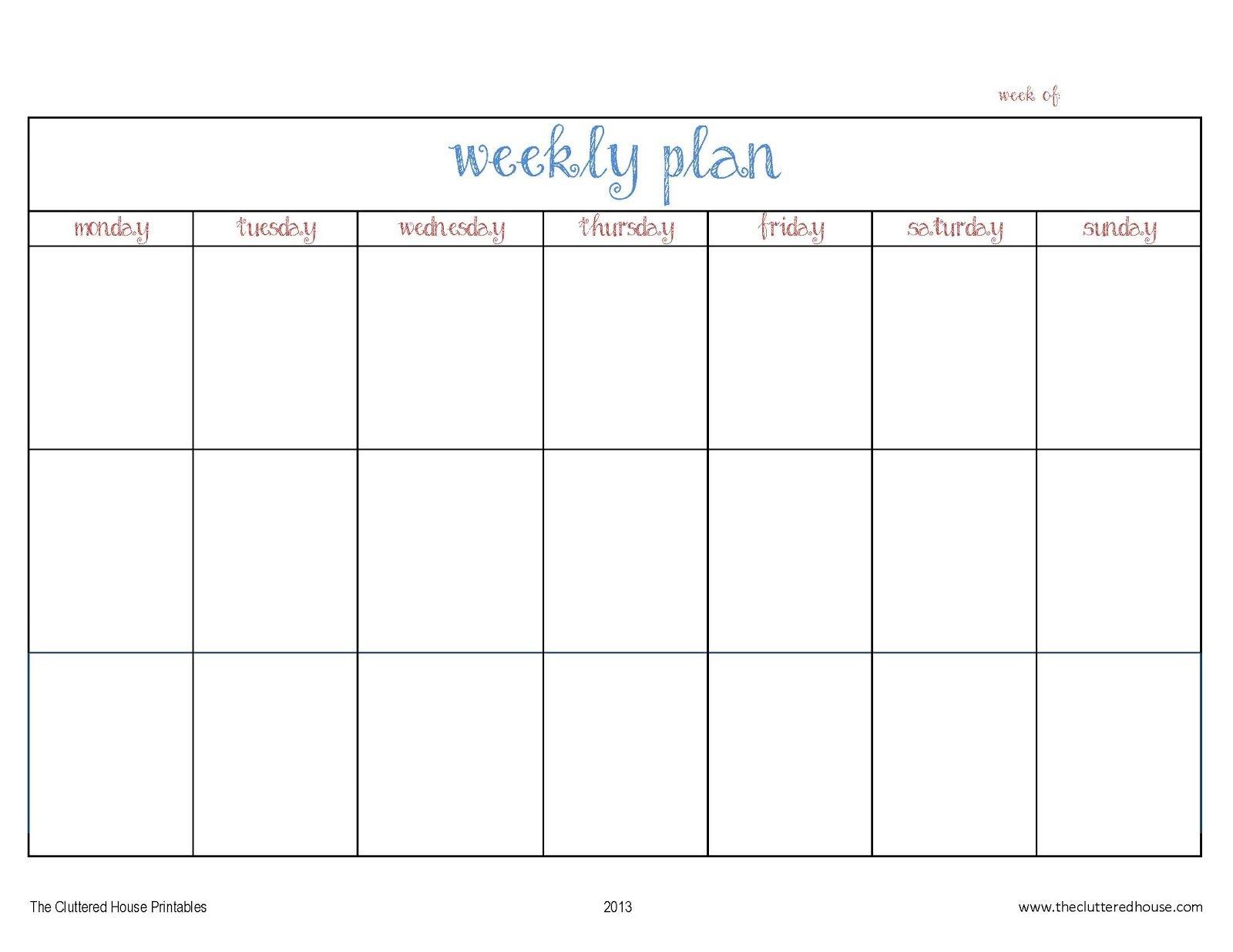 The Cluttered House: Weekly Planner Printable 4 Week Printable Calendar