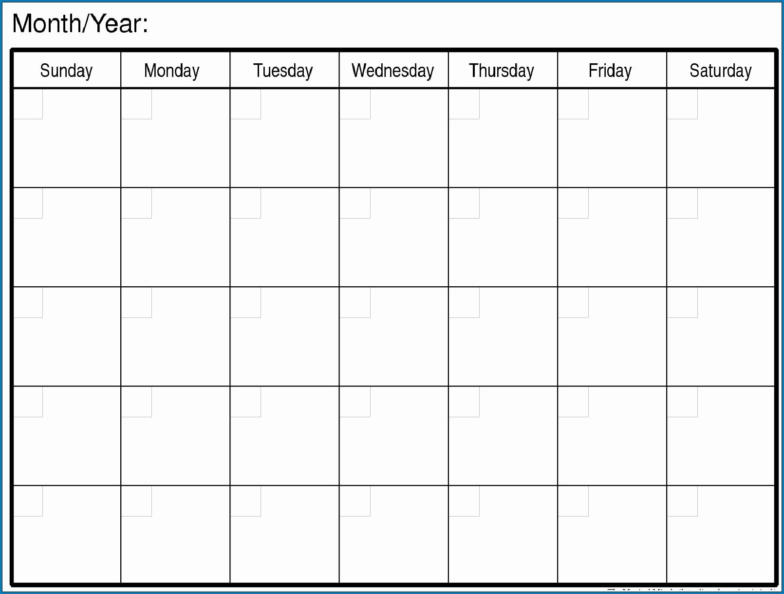 The Mon - Friday Monthly Calendar Template   Get Your Printable Monday To Friday Calendar