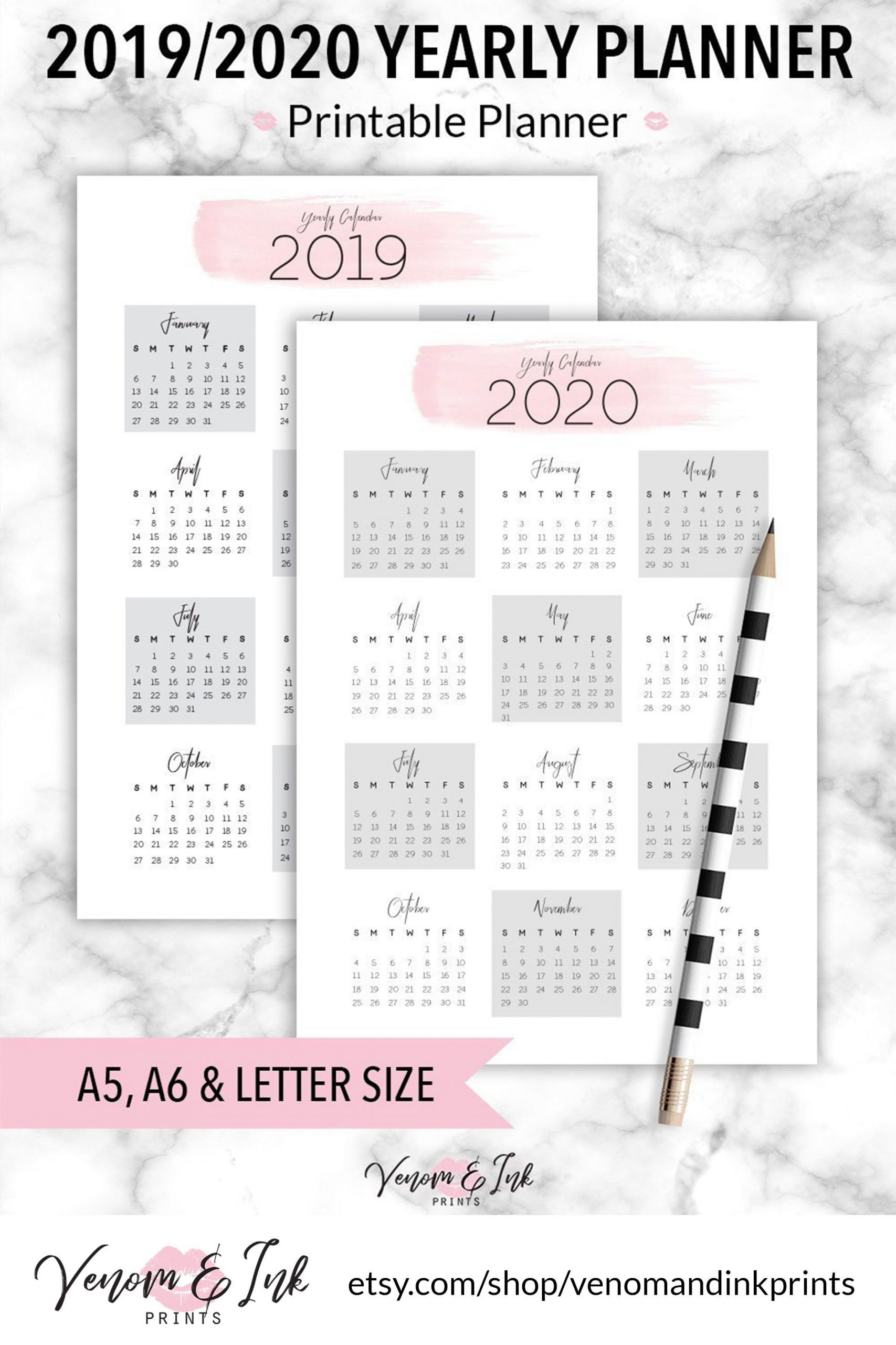 This Yearly 2019 To 2020 Planner Printable Features Free 2020 Checkbook Size Calendar Same Size As A Check For The Year