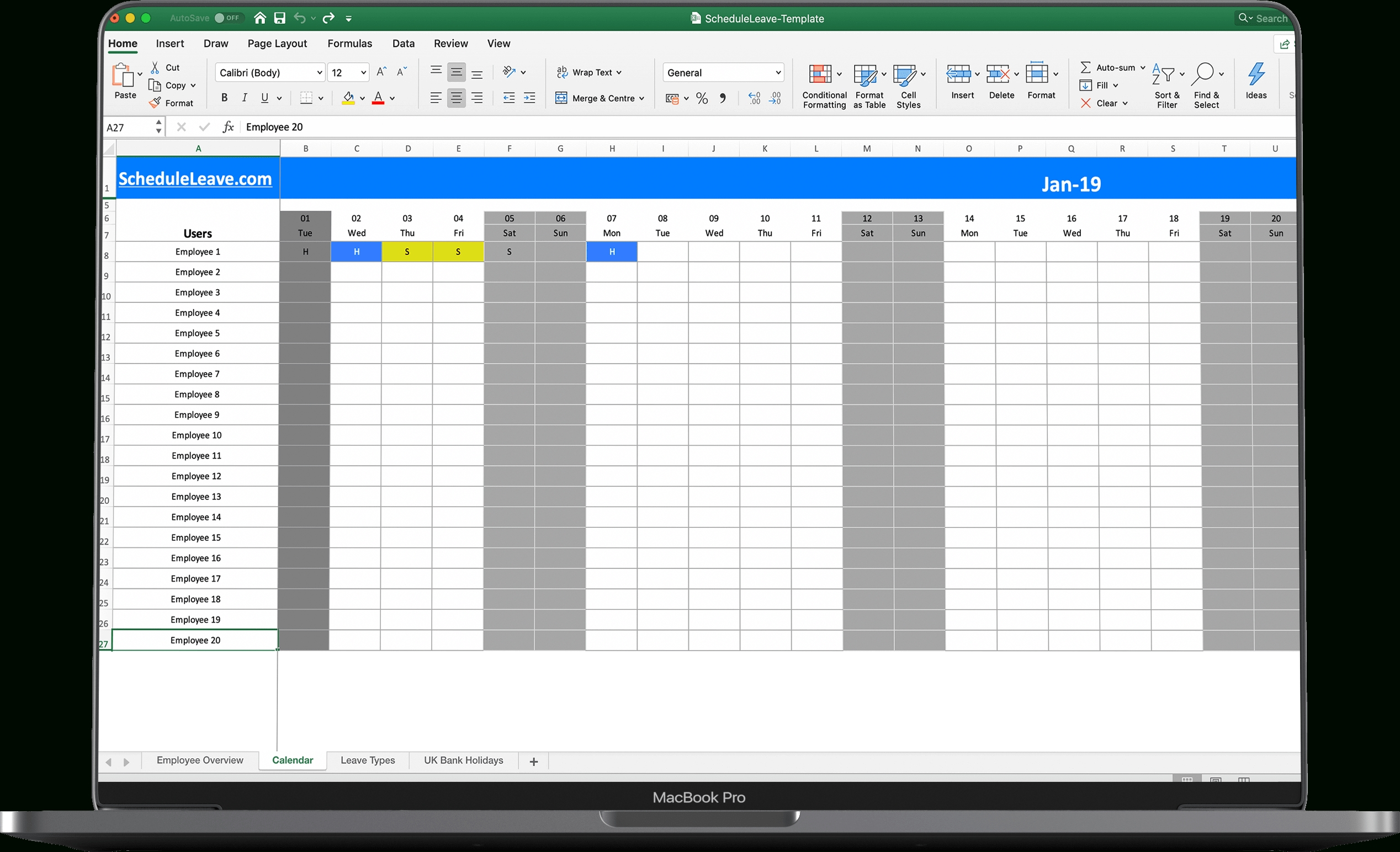 Time Off Calendar Excel   Calendar Template 2020 Time Off Calender Template