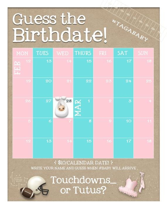 Touchdownsor Tutus Guess The Birth Date Custom Baby Guess Baby'S Birth Date