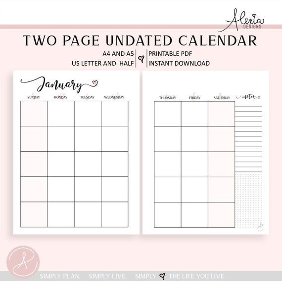 Two Page Undated Monthly Calendar - Printable Pdf Weekly 2 Page Calendar