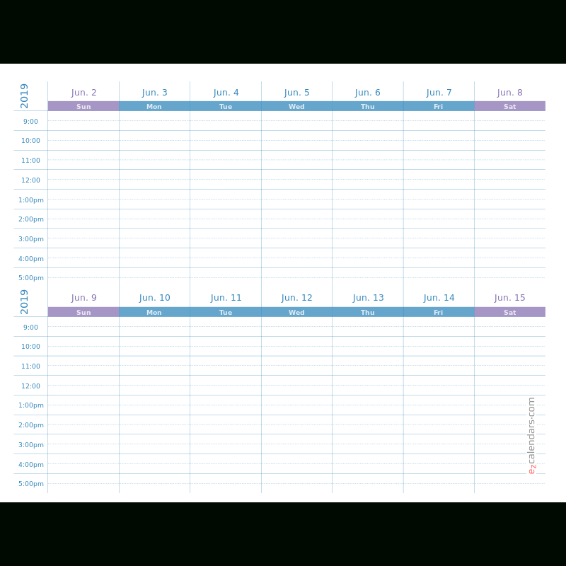Two Weeks Appointment Schedule Template, Weekly Planner Two Week Calendar Template Free