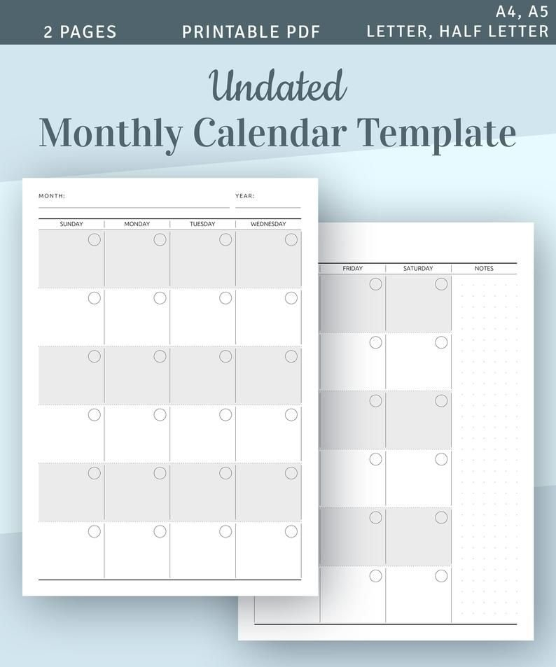 Undated Monthly Calendar Printable Template, Monthly 2 Page Monthly Calendar Free