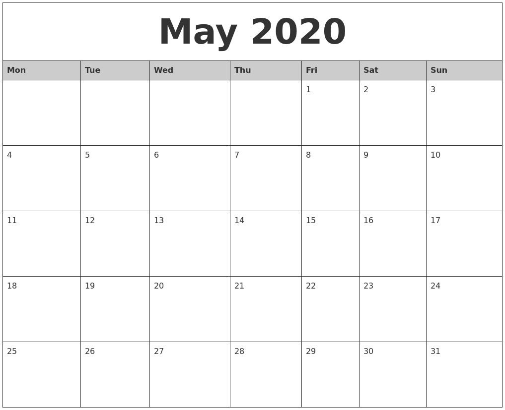 Universal Blank 30 Day Calendar Starting May 24 In 2020 Blank 30-Day Calender Printable