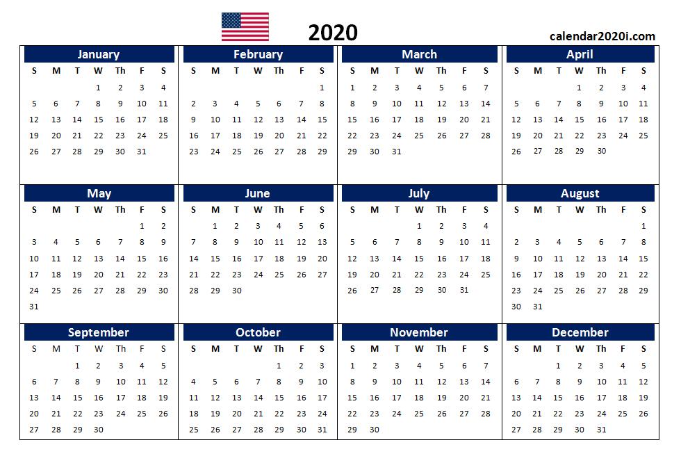 Us 2020 Calendar Yearly 12 Month Printable   Calendar 2020 Printable And Editable 12 Month Calendars