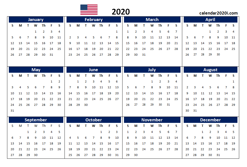 Us 2020 Calendar Yearly 12 Month Printable   Calendar Editable 12 Month Calendar