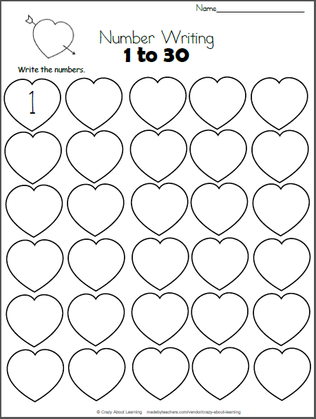 Valentine'S Day Math - Numbers 1 To 30 | 1 Класс Days Numbered 1 To 365