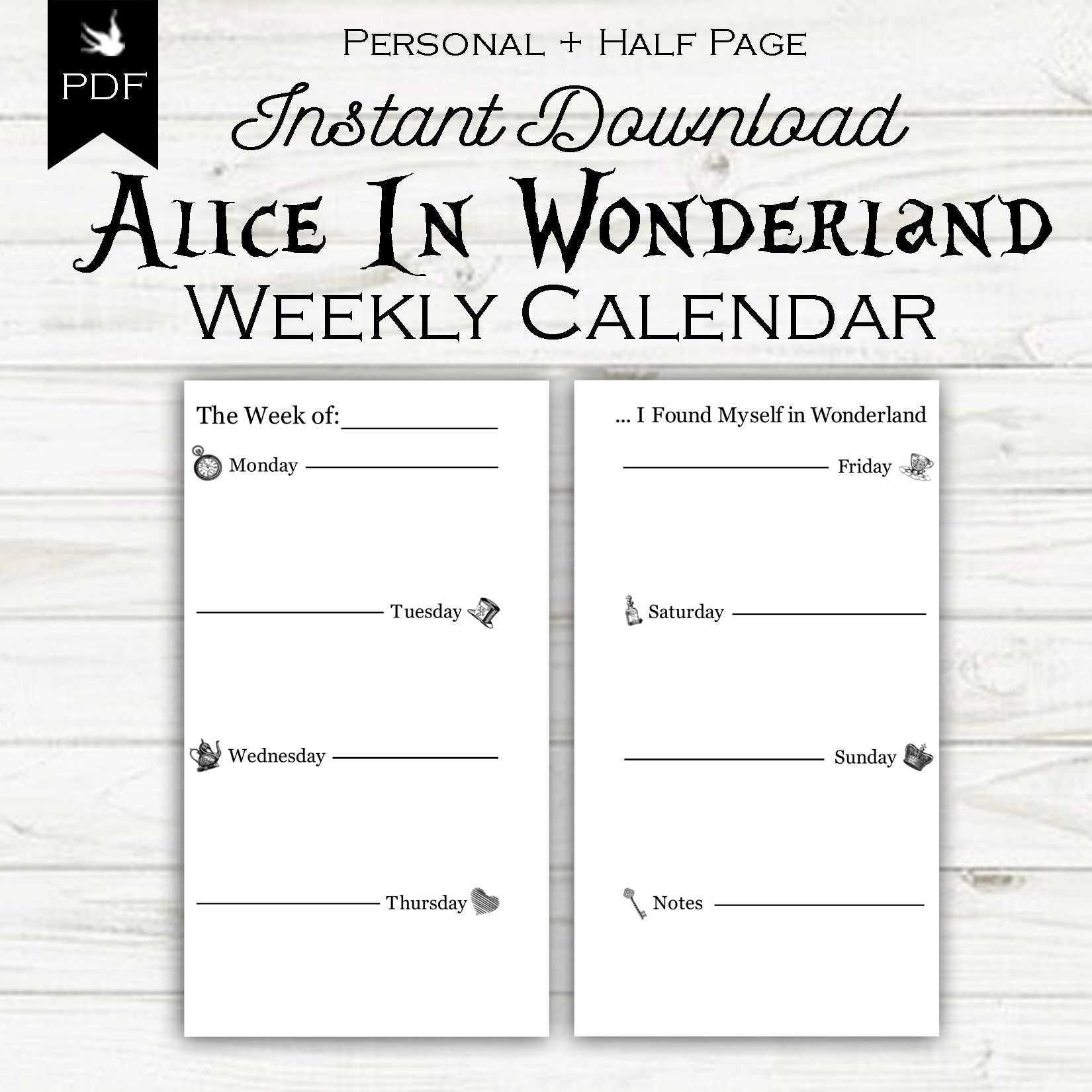 Week On Two Pages - Alice In Wonderland - Sixth & Sparrow Printable Calendar 8 1/2 X 5.5