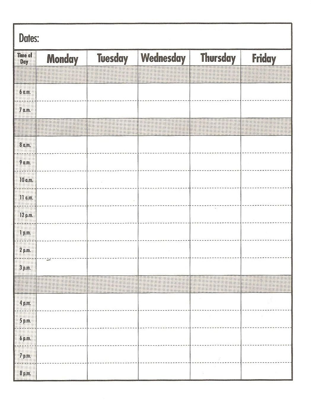Weekday Schedule With Time Slots - Calendar Inspiration Design Fill Out A Calender Online And Print Out