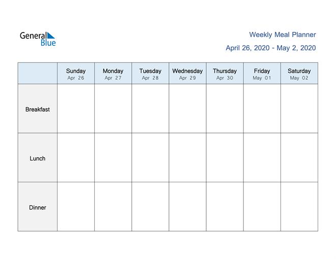 Weekly Calendar - April 26, 2020 To May 2, 2020 - (Pdf Two Week Calendar Pdf