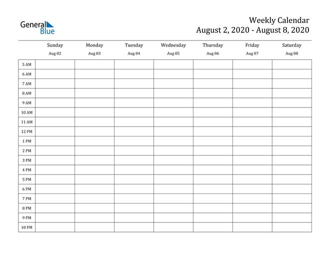 Weekly Calendar - August 2, 2020 To August 8, 2020 - (Pdf 2 Week Calendar Editable