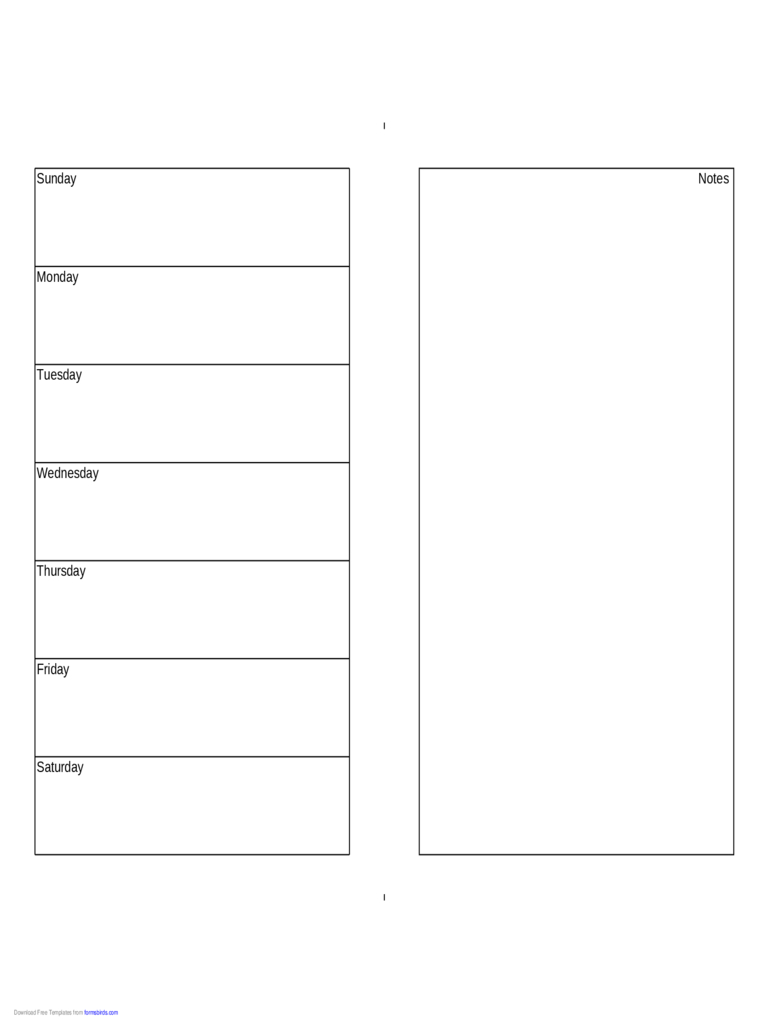 Weekly Calendar (Half Page With Notes On Right) - Edit Half Sheet Calendar Template Free