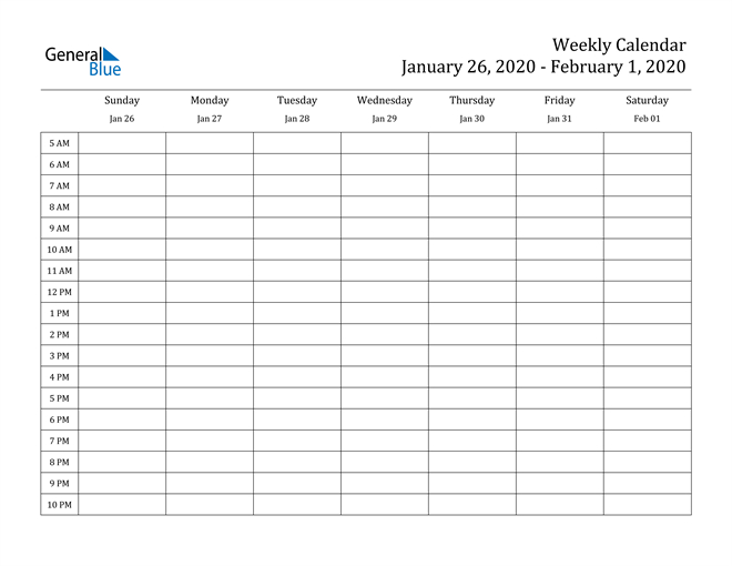 Weekly Calendar - January 26, 2020 To February 1, 2020 Weekly Planner With Time Slots Pdf