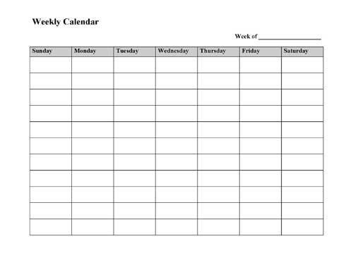 Weekly Calendar Printable Monday To Sunday Graphics Word Calendar Template Monday - Sunday