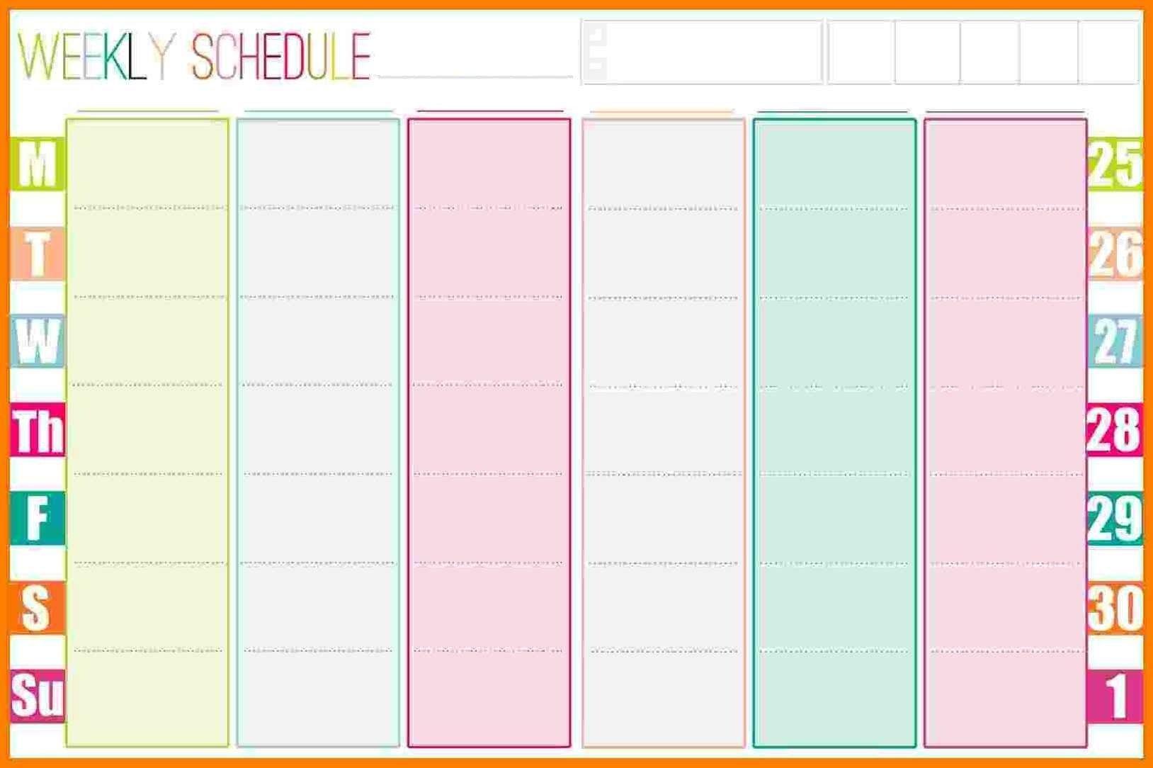 Weekly Calendar Template - 2019 Weekly Calendar Excel 8 Week Calendar Pdf