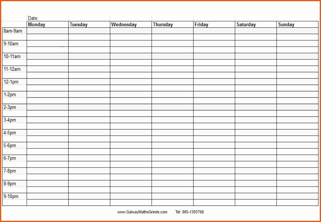 Weekly Calendar With Time Slots Printable Blank Weekly Printable Time Slot Day