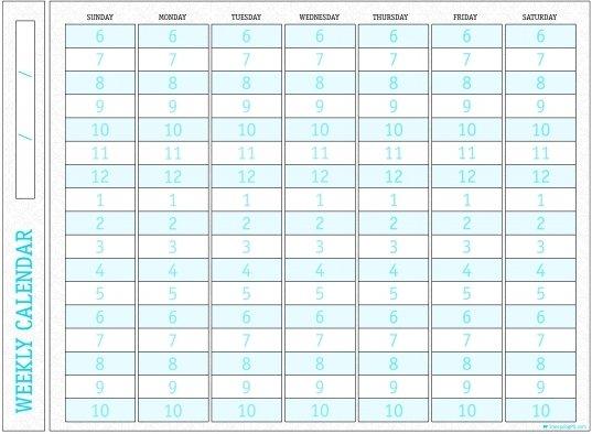 Weekly Calendar With Time Slots   Printable Calendar Printable Weekly Calendar With Time Slots School