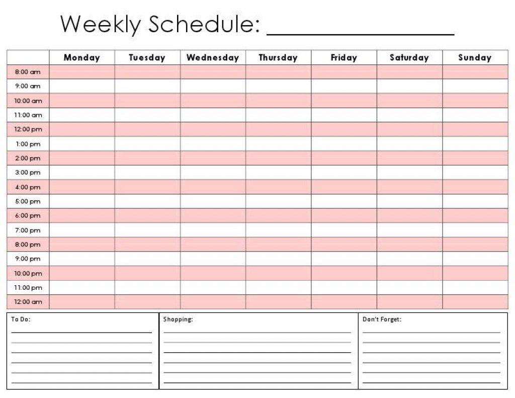 Weekly Calendarhour - Calendar Printable Week 1 Week Schedule Template