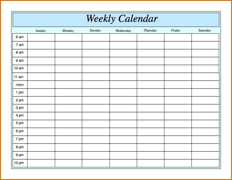 Weekly Calendarhour - Calendar Printable Week Daily Hour By Hour Printable Calendar