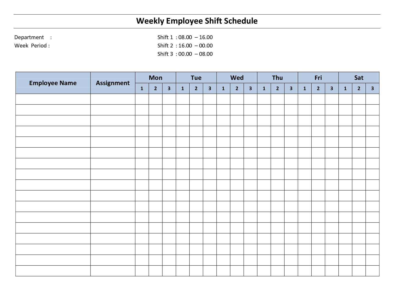 Weekly Employee Shift Schedule - 8 Hour Shift | Cleaning Hr Calendar And Sample