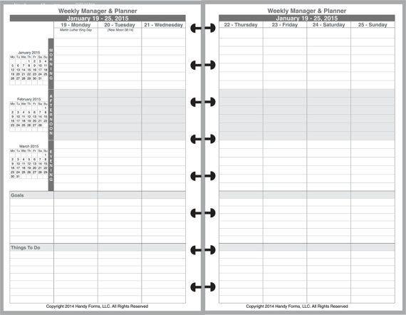 Weekly Manager Planner Organizer 2 Page Per Week 5 1/2 X 8 5 1/2 By 8 1/2 Weekly Calendar Printable
