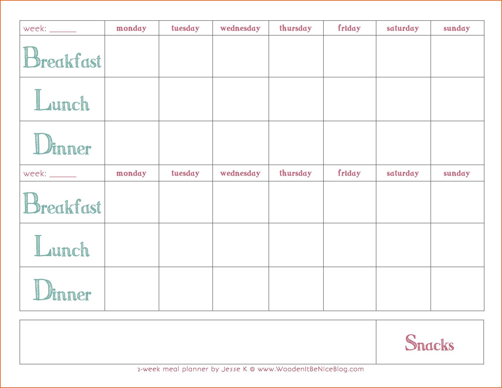 Weekly-Meal-Plan-Template-2Weekmealplanner-Coastal 5 Day Monthly Calendar Template Word