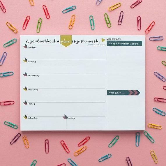 Weekly Planner Pad | A4 Calendar Organiser Notepad Next Two Week Calendar