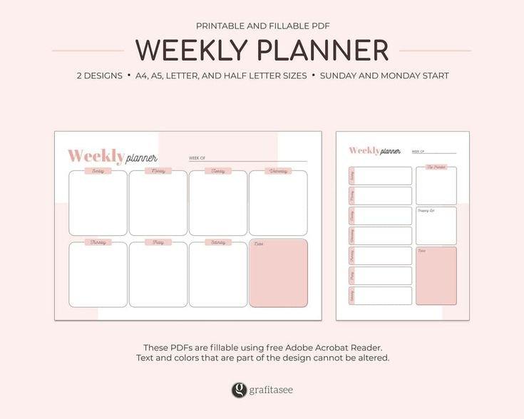 Weekly Planner Printable Printable Fillable Pdf Schedule Free Fillable Weekly Schedule