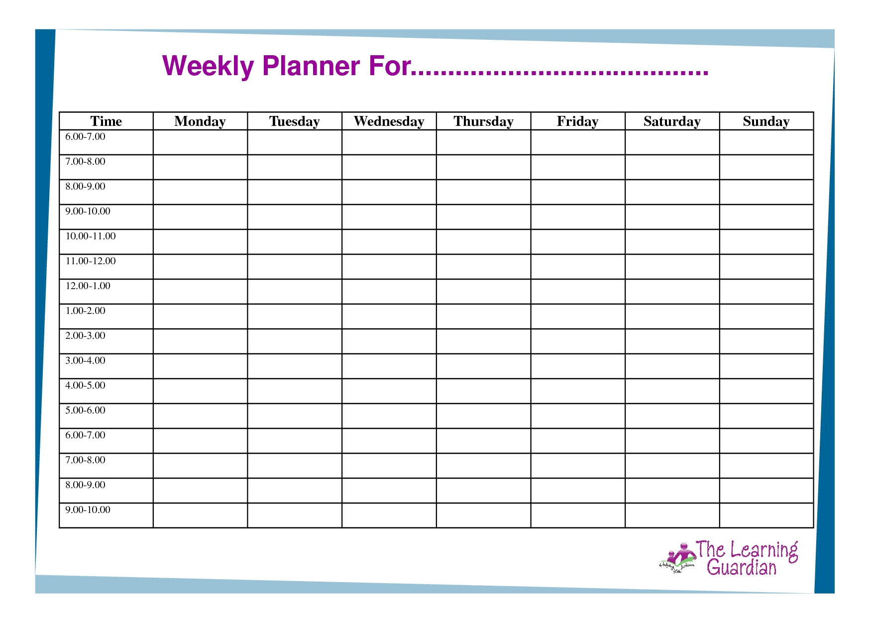 Weekly Planner With Time Slots Word Template - Calendar Schedule Templates With Hour Time Slots