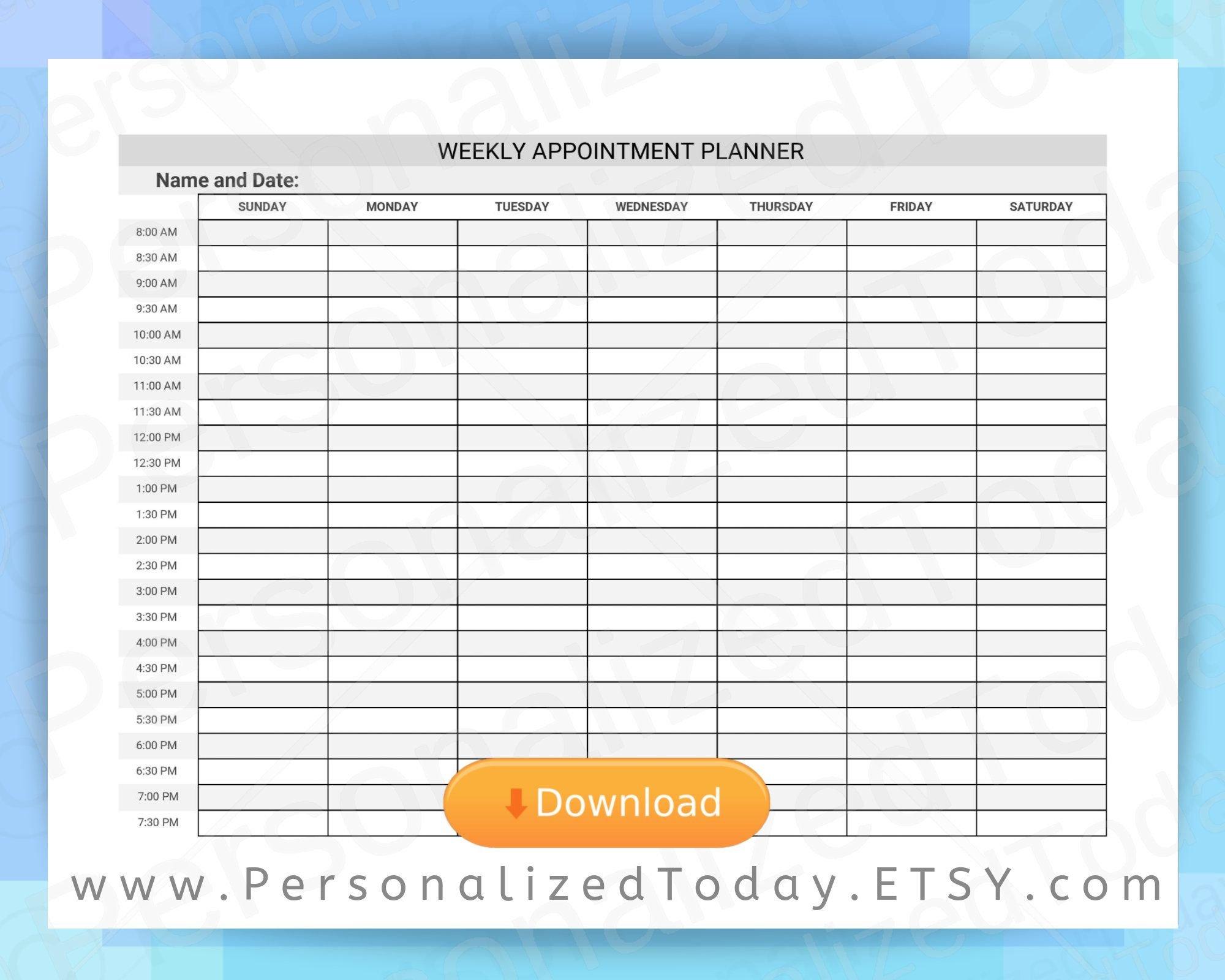 Weekly Printable Schedule 8 A.m. Through 8 P.m. 12 Hour One Week Schedual Pdf