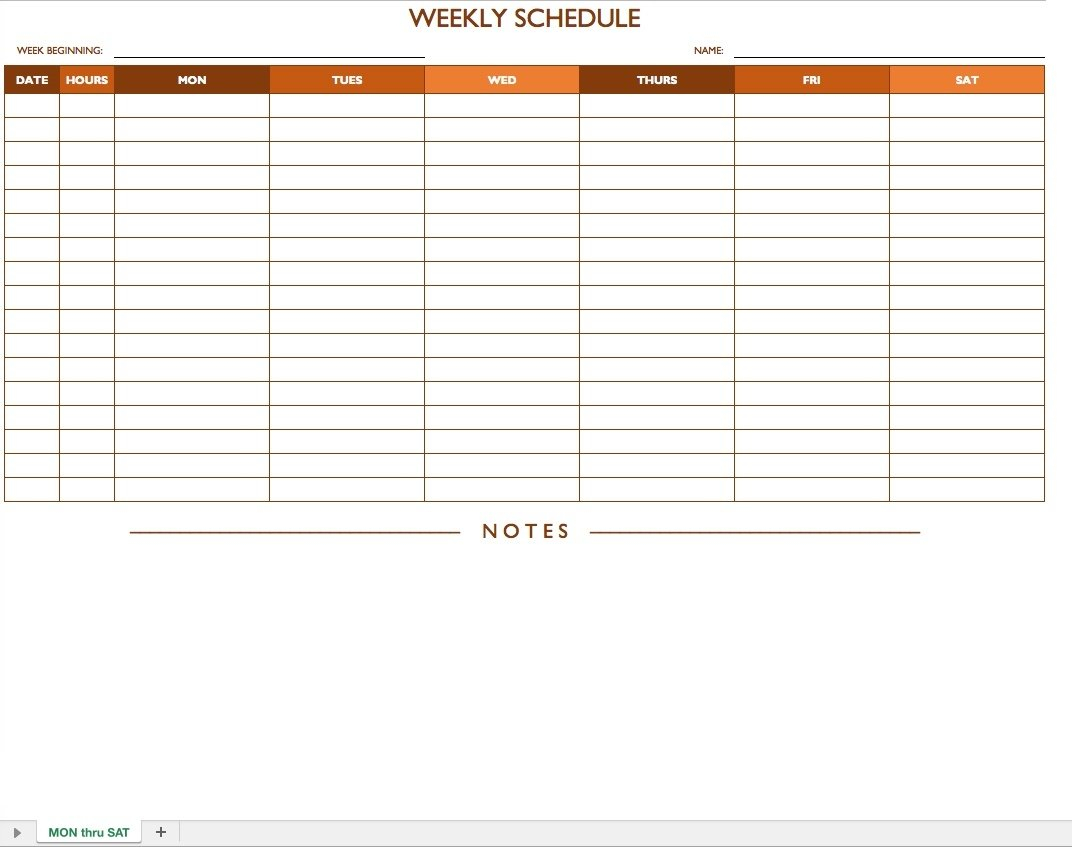 Weekly Schedule Monday - Sunday - Template Calendar Design Weekly Schedule Monday To Sunday