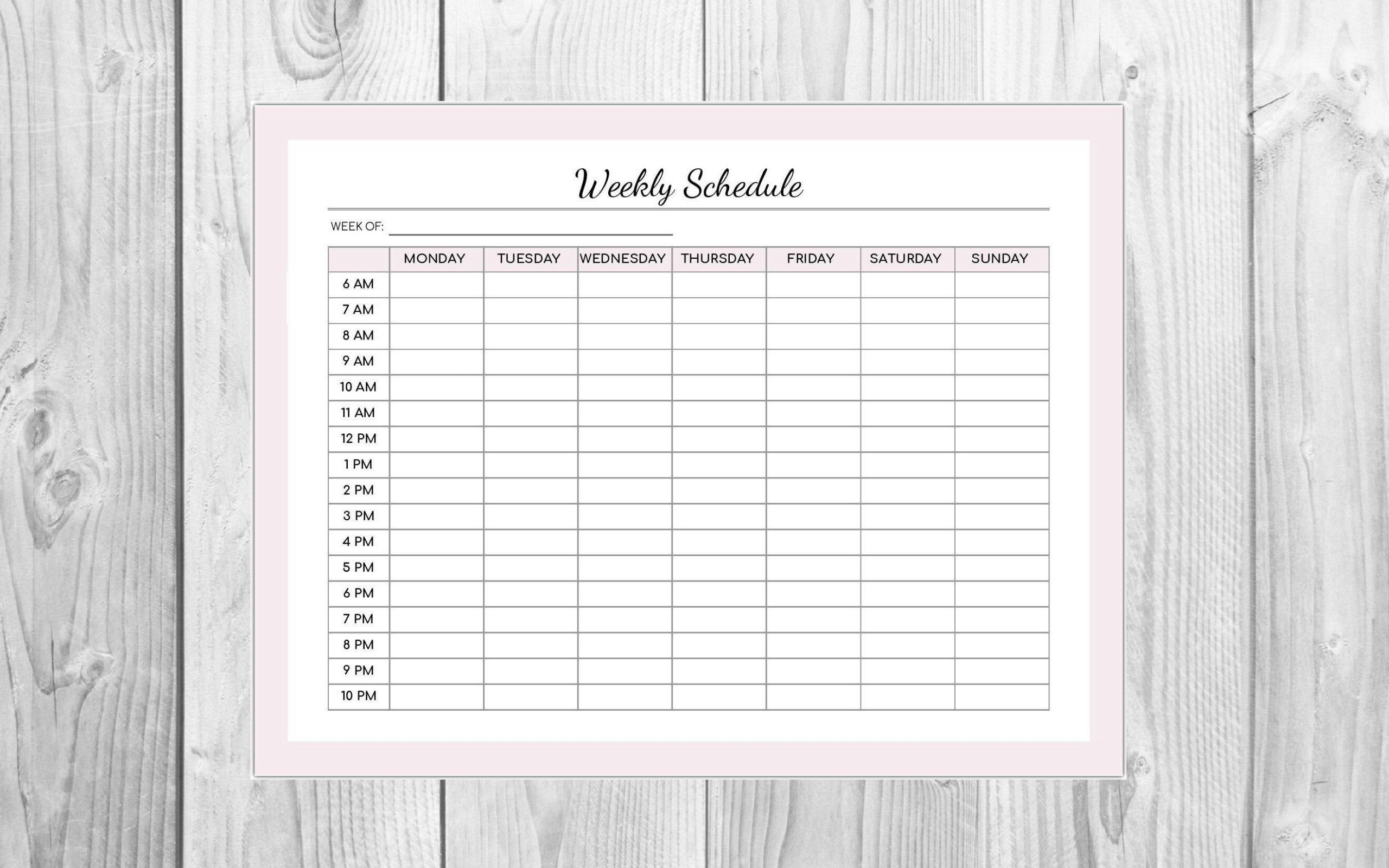 Weekly Schedule Pink Editable Pdf- Hourly Schedule Monday Friday Schedule Download