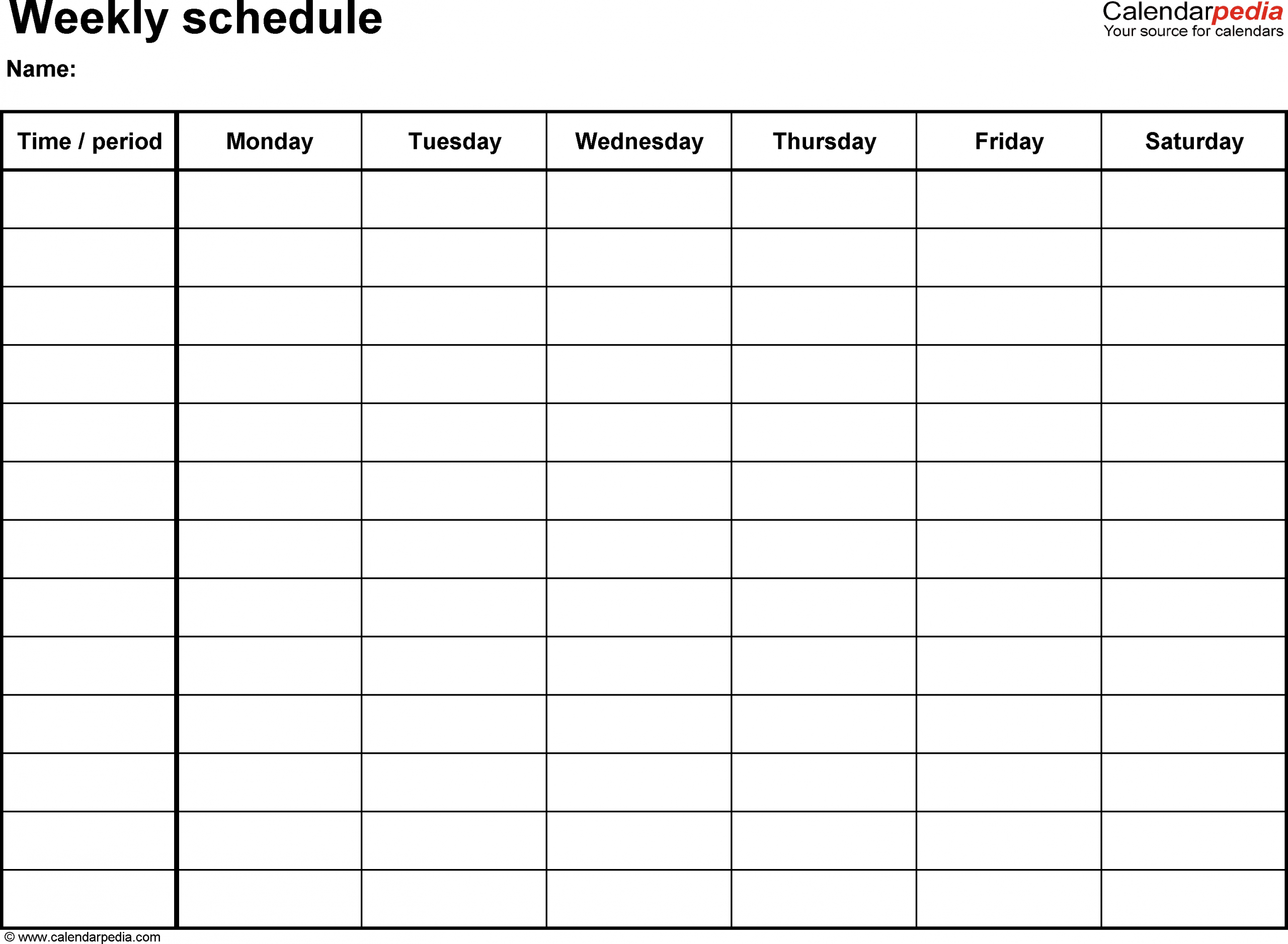 Weekly Schedule Template For Word Version 8: Landscape, 1 One Week Monday Through Saturday Communication Calendar