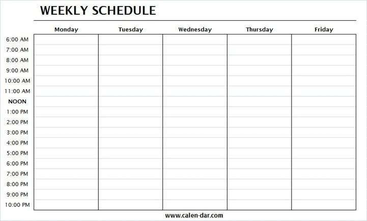 Weekly Schedule Template Monday Friday With Times   One Monday To Friday Schedule Template With Four Weeks