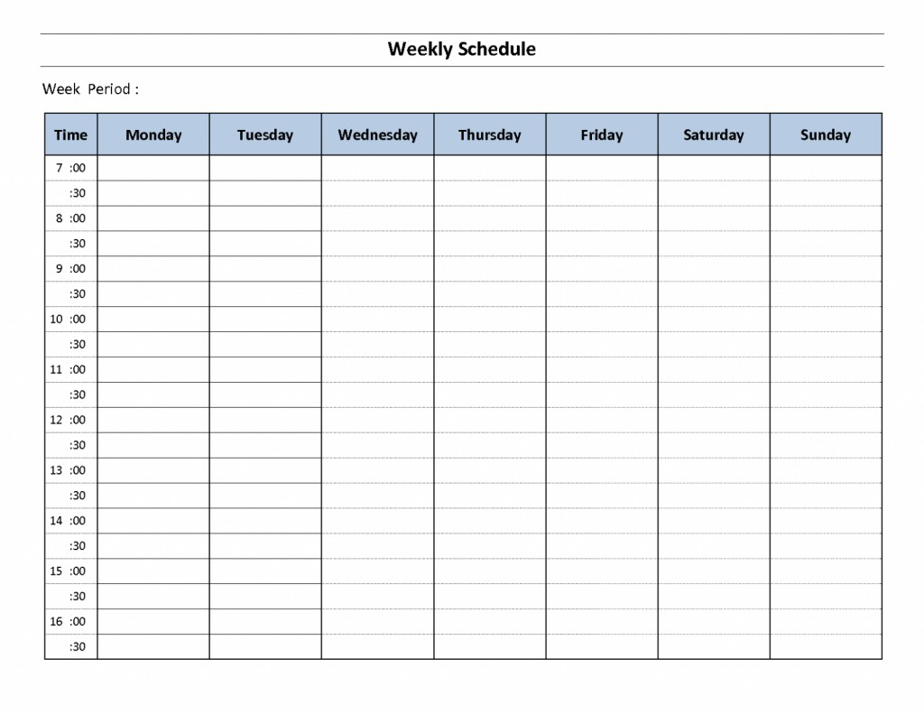Weekly Schedule With Time Slots | Calendar For Planning Schedule For A Day With Time Slots