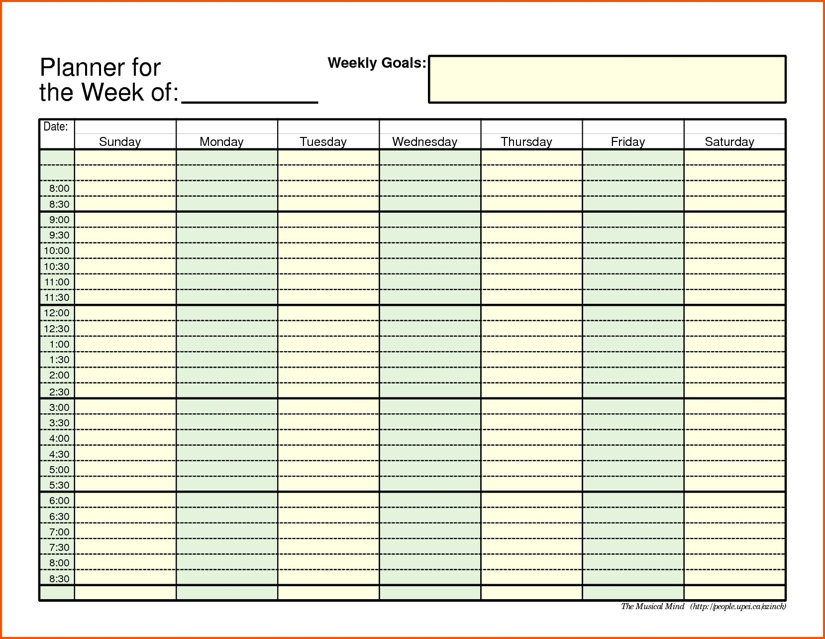 Weekly Schedule With Time Slots - Calendar Inspiration Design Free Weekly Planner With Time Slots