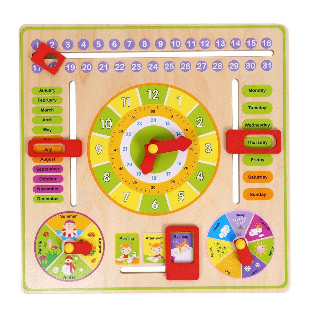 Wooden Cognitive Calendar Clock Toy Multifunction Early 3 Month Wooden Calendar Frame
