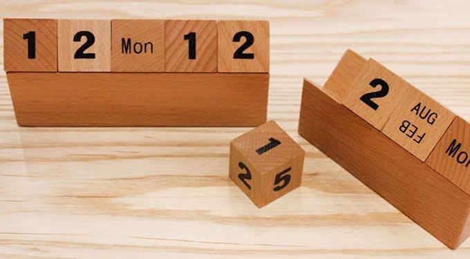 Wooden Cubes Perpetual Calendar - Feelgift 3 Month Wooden Calendar Frame
